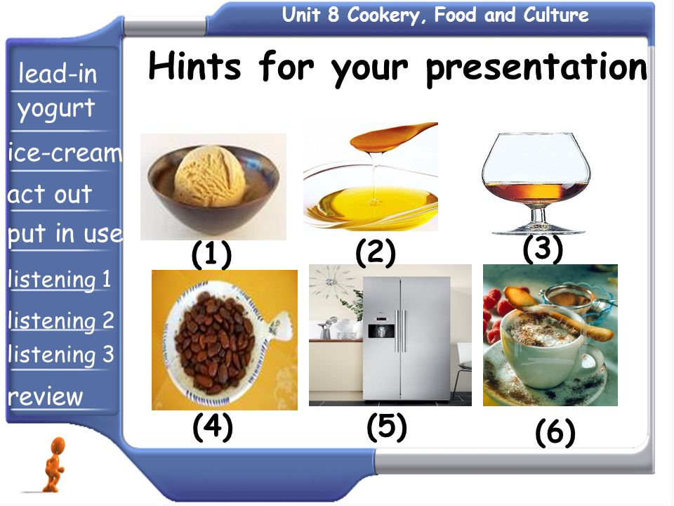 Hints for your presentation lead-in yogurt ice-cream act out put in use listening 1 listening 2 listening 3 review (1) (2) (3) (4)(5) (6)