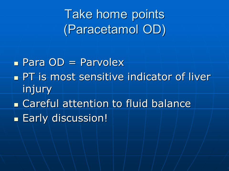 Take home points (Paracetamol OD) Para OD = Parvolex Para OD = Parvolex PT is most sensitive indicator of liver injury PT is most sensitive indicator