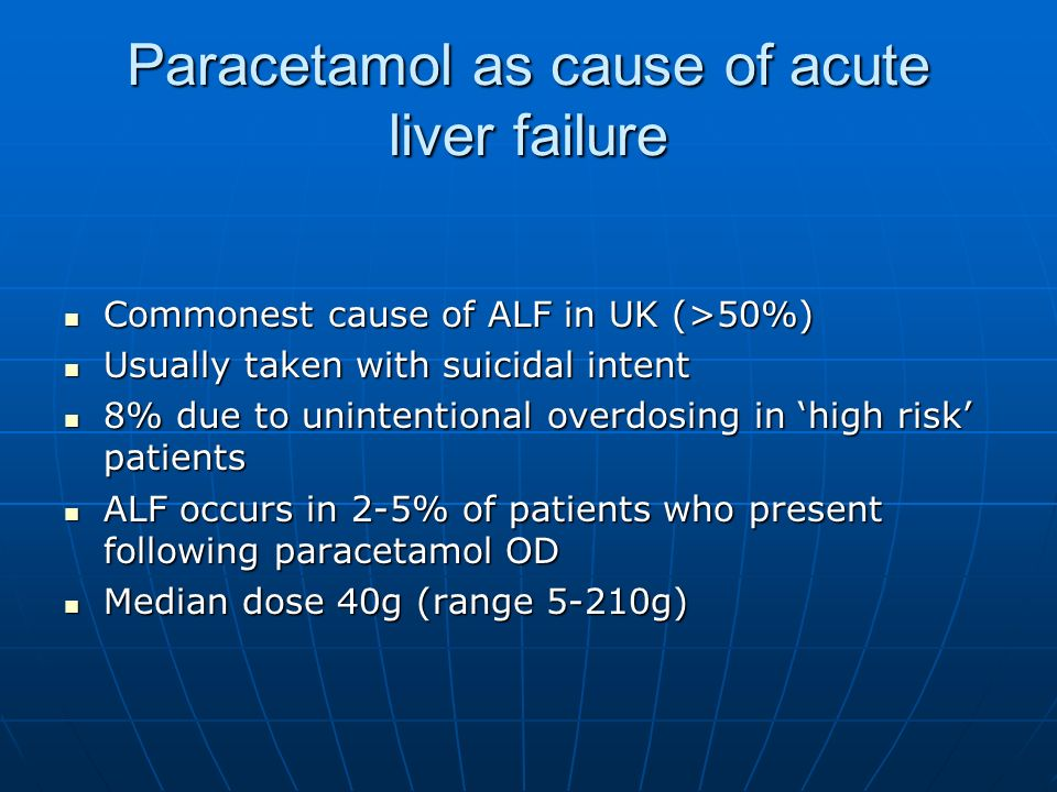 Paracetamol as cause of acute liver failure Commonest cause of ALF in UK (>50%) Commonest cause of ALF in UK (>50%) Usually taken with suicidal intent