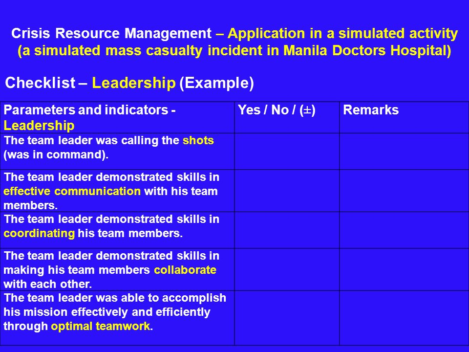 Crisis Resource Management – Application in a simulated activity (a simulated mass casualty incident in Manila Doctors Hospital) Checklist – Leadershi