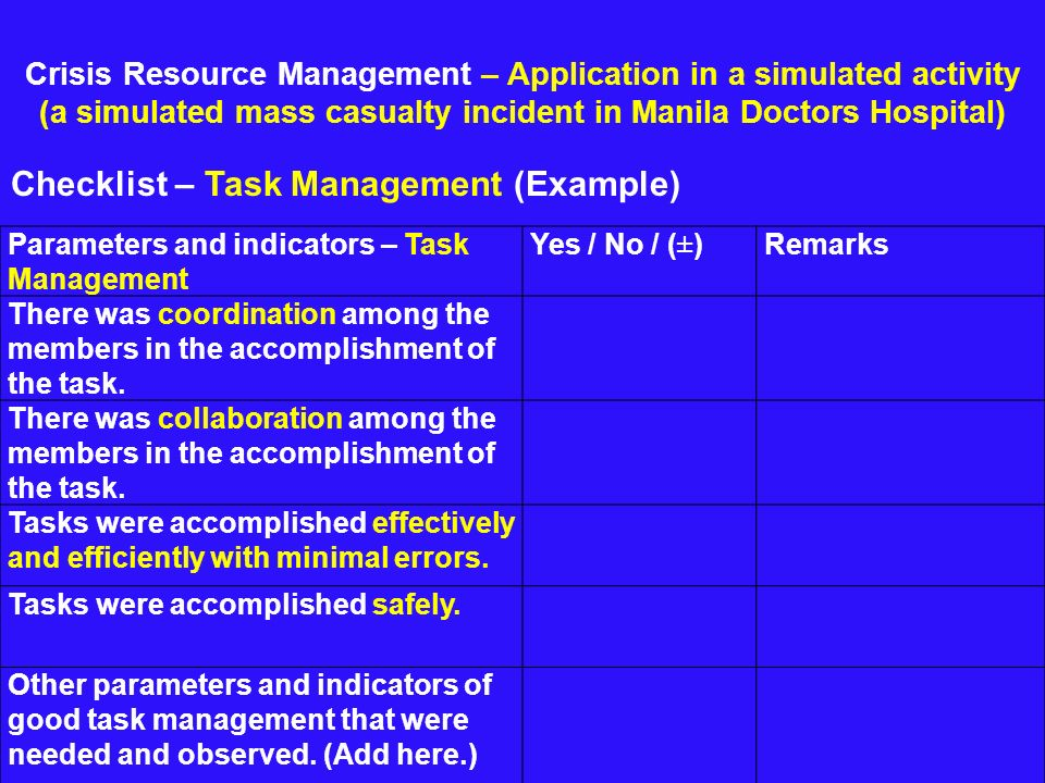 Crisis Resource Management – Application in a simulated activity (a simulated mass casualty incident in Manila Doctors Hospital) Checklist – Task Mana