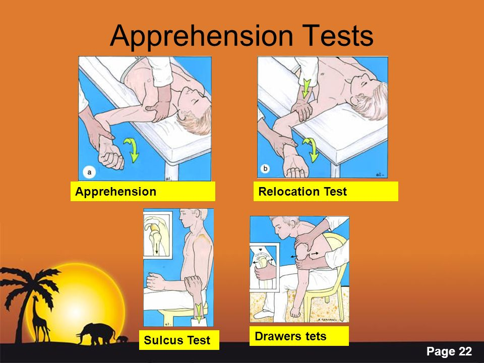Page 22 Apprehension Tests ApprehensionRelocation Test Sulcus Test Drawers tets
