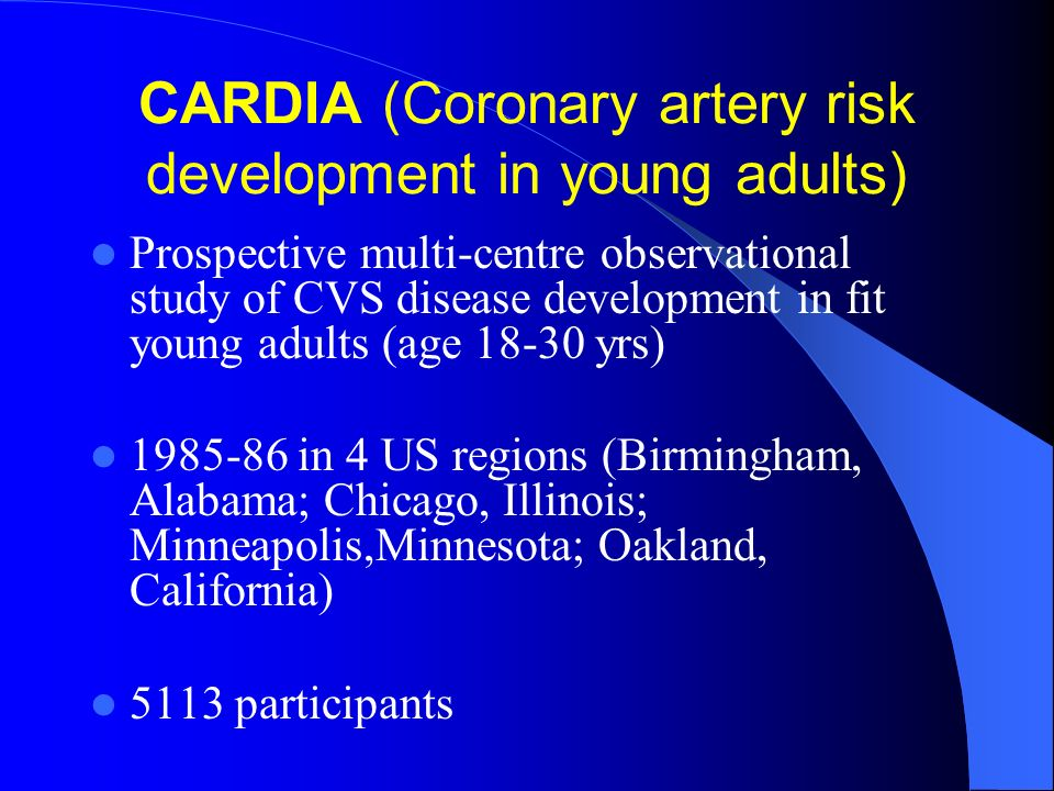 CARDIA (Coronary artery risk development in young adults) Prospective multi-centre observational study of CVS disease development in fit young adults