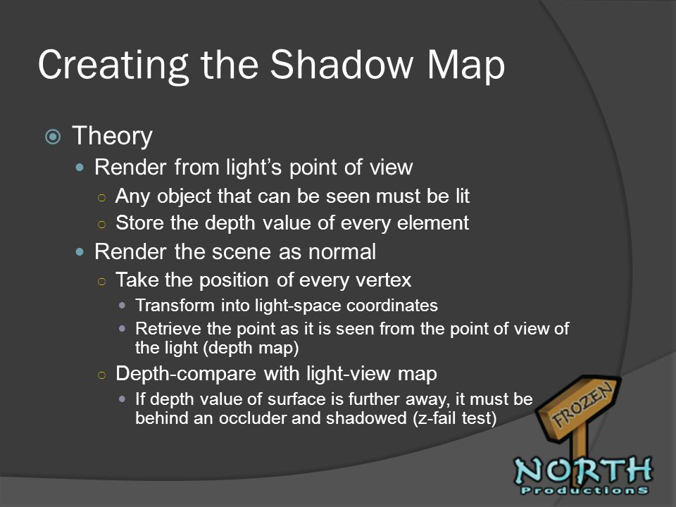 Creating the Shadow Map Theory Render from lights point of view Any object that can be seen must be lit Store the depth value of every element Render
