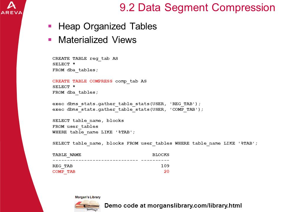Daniel A. Morgan 9.2 Data Segment Compression Heap Organized Tables Materialized Views CREATE TABLE reg_tab AS SELECT * FROM dba_tables; CREATE TABLE