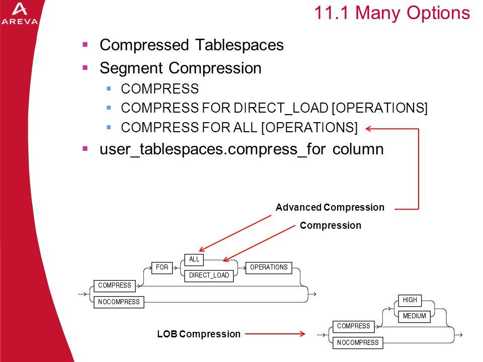 Daniel A. Morgan 11.1 Many Options Compressed Tablespaces Segment Compression COMPRESS COMPRESS FOR DIRECT_LOAD [OPERATIONS] COMPRESS FOR ALL [OPERATI