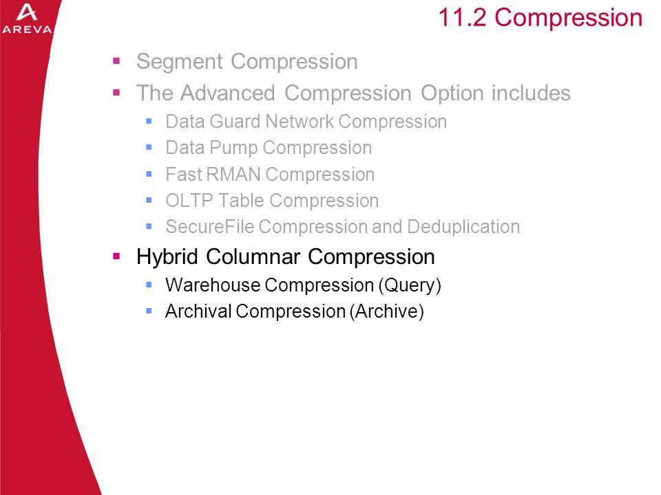 Daniel A. Morgan 11.2 Compression Segment Compression The Advanced Compression Option includes Data Guard Network Compression Data Pump Compression Fa