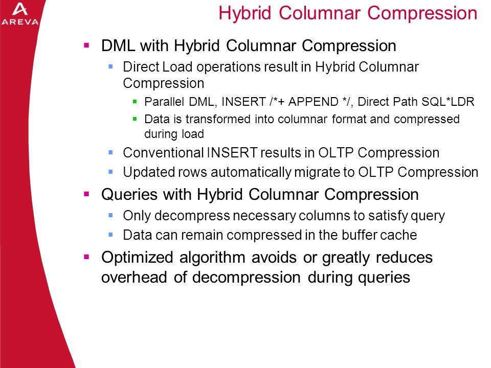 Daniel A. Morgan DML with Hybrid Columnar Compression Direct Load operations result in Hybrid Columnar Compression Parallel DML, INSERT /*+ APPEND */,