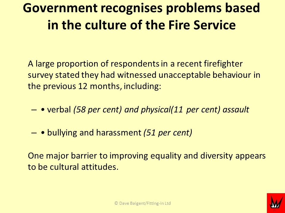 Government recognises problems based in the culture of the Fire Service A large proportion of respondents in a recent firefighter survey stated they had witnessed unacceptable behaviour in the previous 12 months, including: – verbal (58 per cent) and physical(11 per cent) assault – bullying and harassment (51 per cent) One major barrier to improving equality and diversity appears to be cultural attitudes.