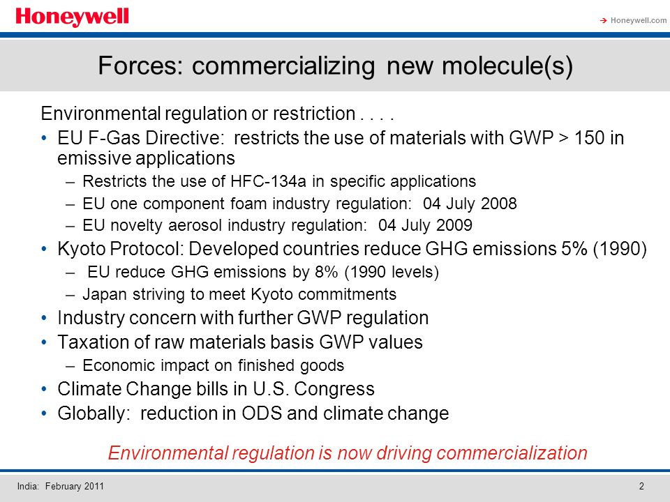 Honeywell.com India: February 20112 Forces: commercializing new molecule(s) Environmental regulation or restriction....