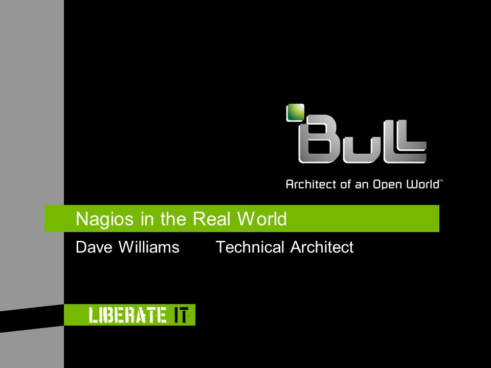 Nagios in the Real World Dave Williams Technical Architect