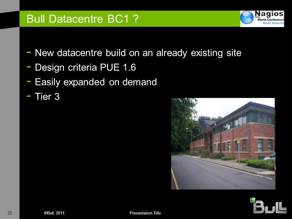 25©Bull, 2011Presentation Title Bull Datacentre BC1 ? - New datacentre build on an already existing site - Design criteria PUE 1.6 - Easily expanded o
