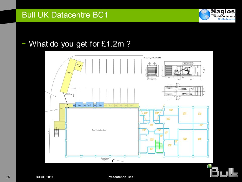 26©Bull, 2011Presentation Title Bull UK Datacentre BC1 - What do you get for £1.2m ?