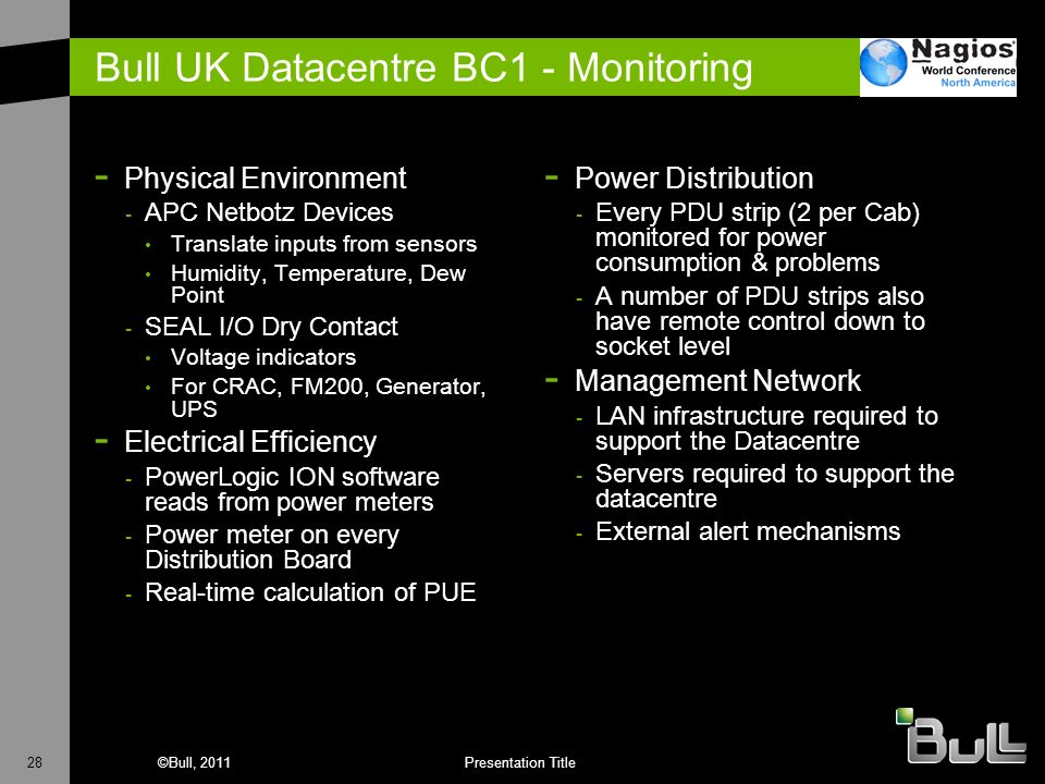 28©Bull, 2011Presentation Title Bull UK Datacentre BC1 - Monitoring - Physical Environment - APC Netbotz Devices Translate inputs from sensors Humidit