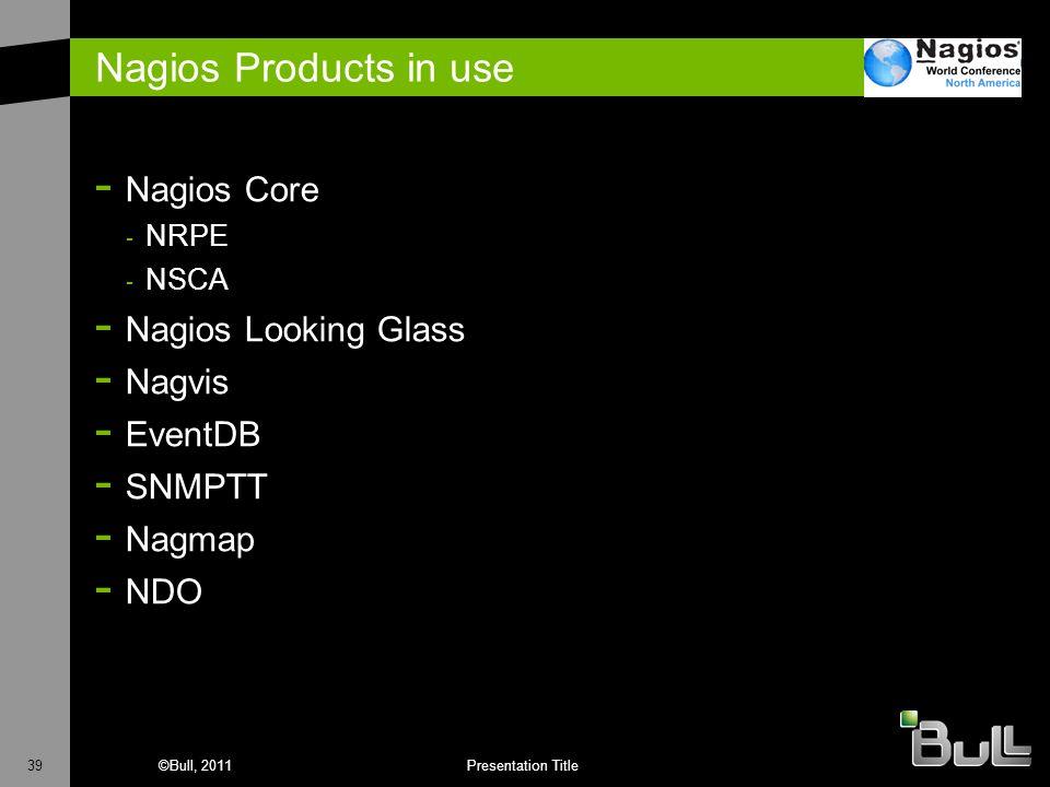 39©Bull, 2011Presentation Title Nagios Products in use - Nagios Core - NRPE - NSCA - Nagios Looking Glass - Nagvis - EventDB - SNMPTT - Nagmap - NDO