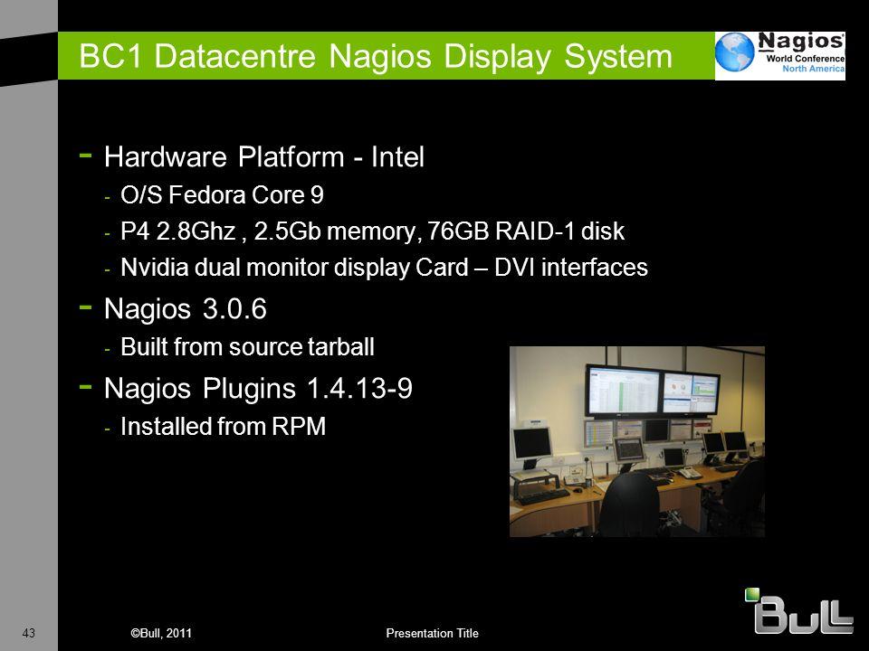 43©Bull, 2011Presentation Title BC1 Datacentre Nagios Display System - Hardware Platform - Intel - O/S Fedora Core 9 - P4 2.8Ghz, 2.5Gb memory, 76GB R