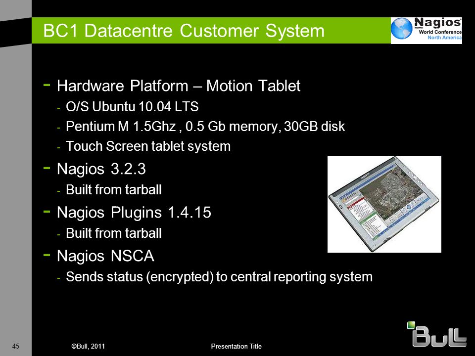 45©Bull, 2011Presentation Title BC1 Datacentre Customer System - Hardware Platform – Motion Tablet - O/S Ubuntu 10.04 LTS - Pentium M 1.5Ghz, 0.5 Gb m