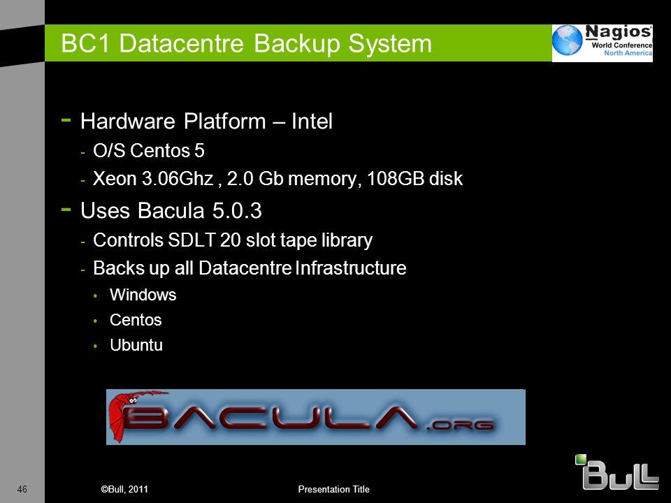 46©Bull, 2011Presentation Title BC1 Datacentre Backup System - Hardware Platform – Intel - O/S Centos 5 - Xeon 3.06Ghz, 2.0 Gb memory, 108GB disk - Us