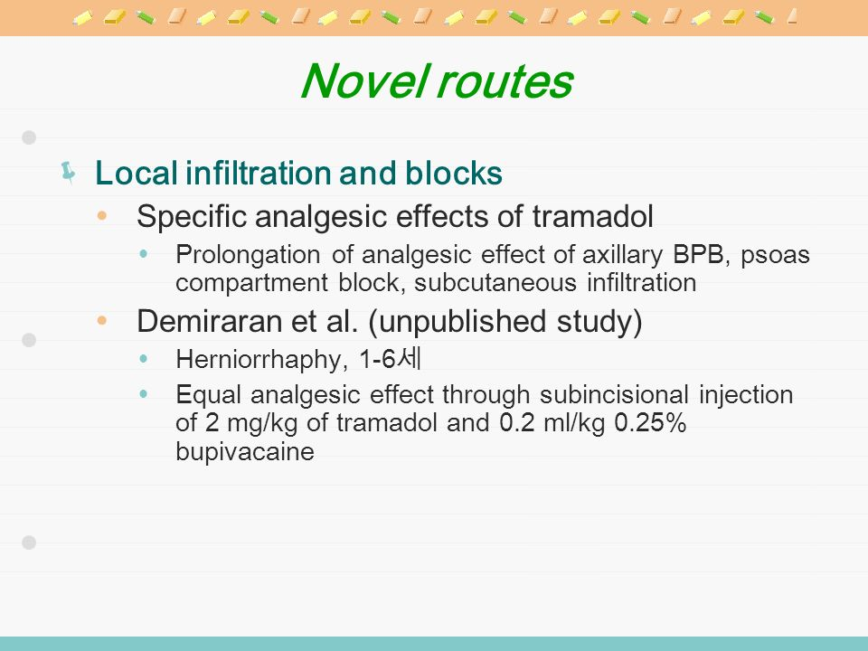 Novel routes Local infiltration and blocks Specific analgesic effects of tramadol Prolongation of analgesic effect of axillary BPB, psoas compartment