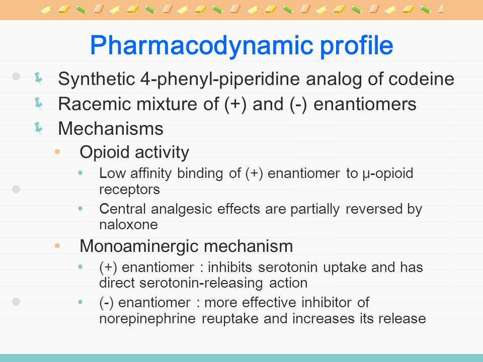 Pharmacodynamic profile Synthetic 4-phenyl-piperidine analog of codeine Racemic mixture of (+) and (-) enantiomers Mechanisms Opioid activity Low affi