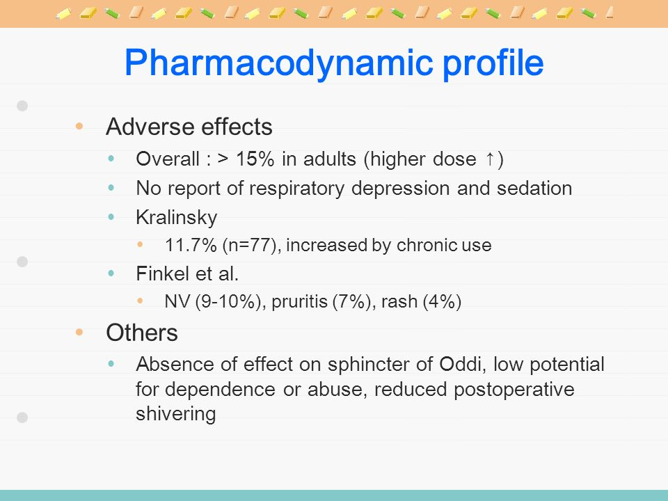 Pharmacodynamic profile Adverse effects Overall : > 15% in adults (higher dose ) No report of respiratory depression and sedation Kralinsky 11.7% (n=7