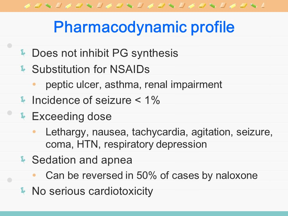 Pharmacodynamic profile Does not inhibit PG synthesis Substitution for NSAIDs peptic ulcer, asthma, renal impairment Incidence of seizure < 1% Exceedi