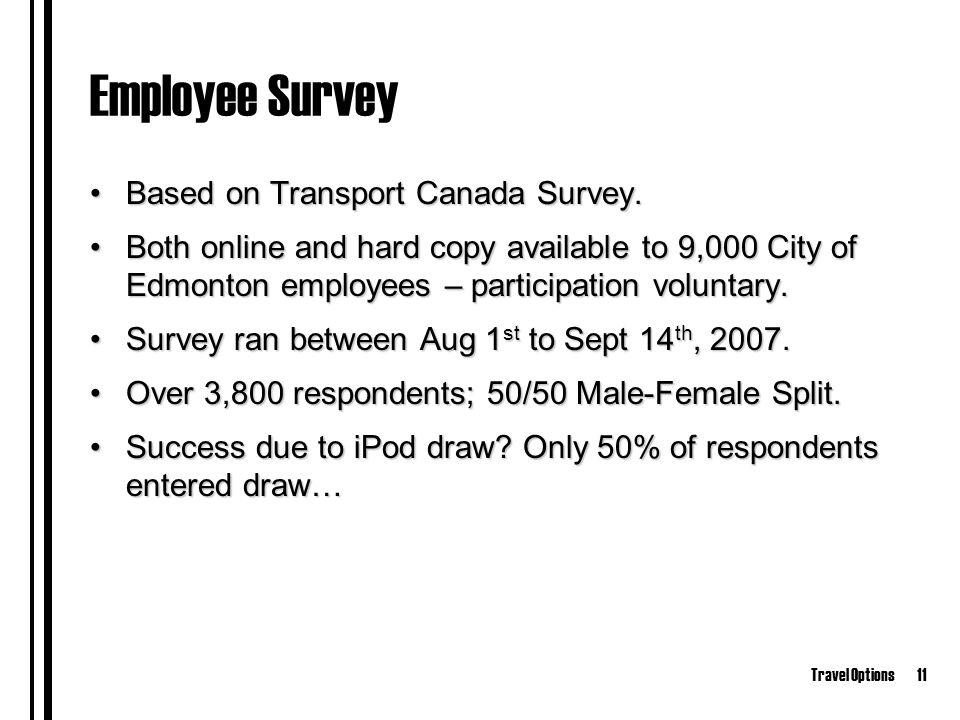Travel Options11 Employee Survey Based on Transport Canada Survey.Based on Transport Canada Survey.