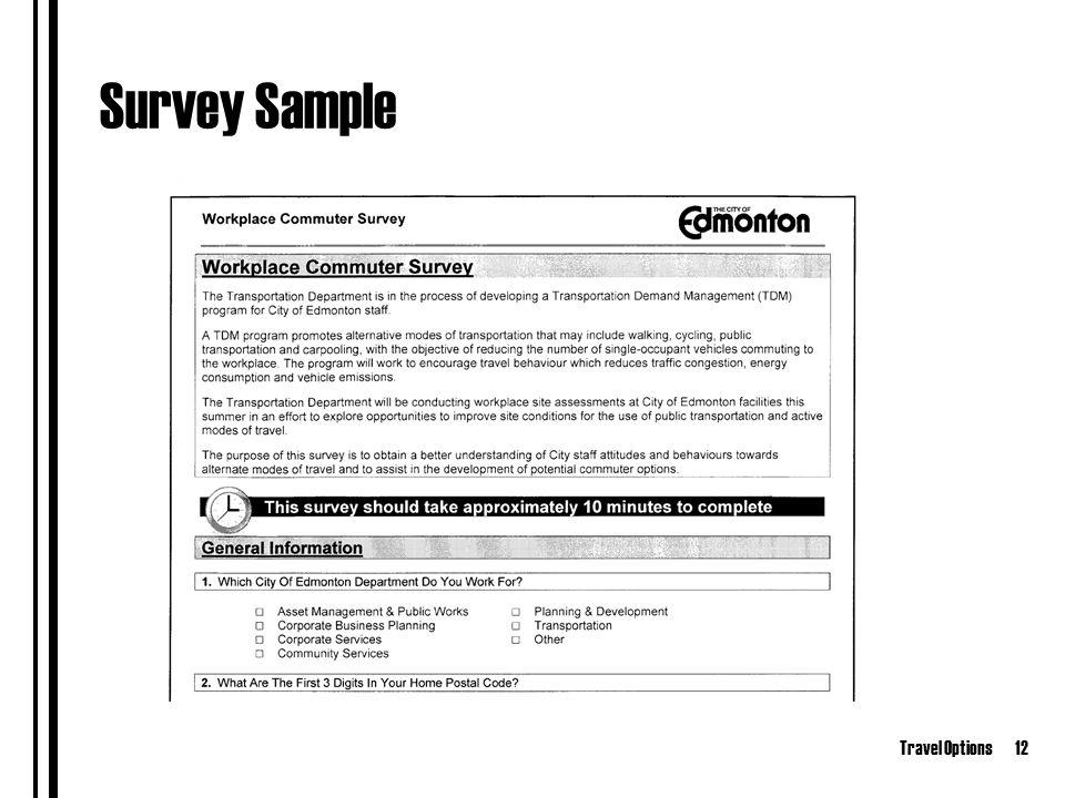 Travel Options12 Survey Sample
