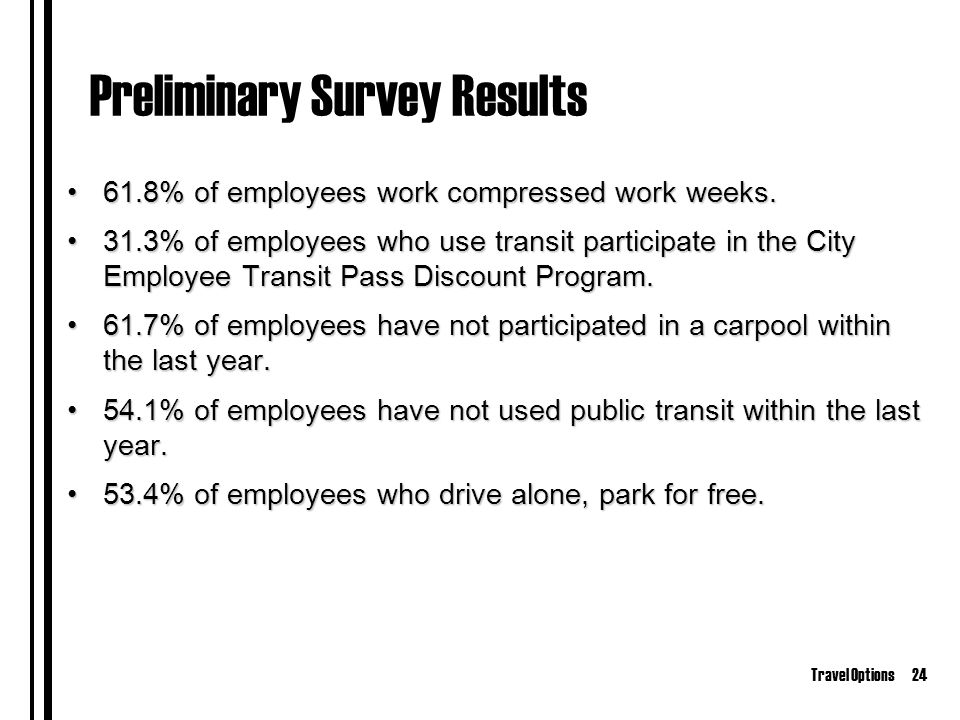 Travel Options24 Preliminary Survey Results 61.8% of employees work compressed work weeks.61.8% of employees work compressed work weeks.