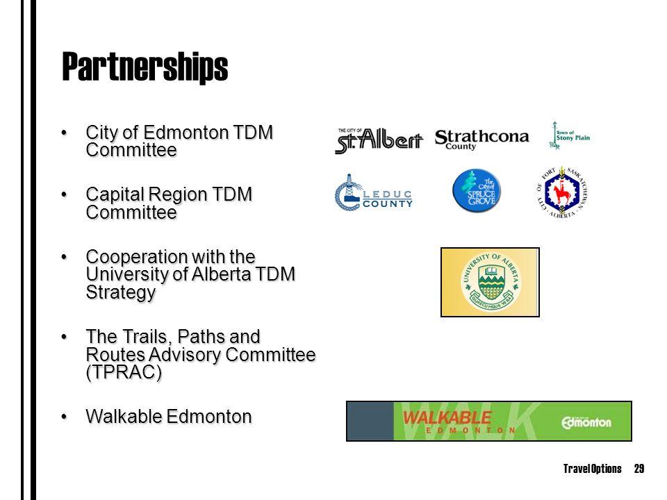 Travel Options29 Partnerships City of Edmonton TDM CommitteeCity of Edmonton TDM Committee Capital Region TDM CommitteeCapital Region TDM Committee Cooperation with the University of Alberta TDM StrategyCooperation with the University of Alberta TDM Strategy The Trails, Paths and Routes Advisory Committee (TPRAC)The Trails, Paths and Routes Advisory Committee (TPRAC) Walkable EdmontonWalkable Edmonton