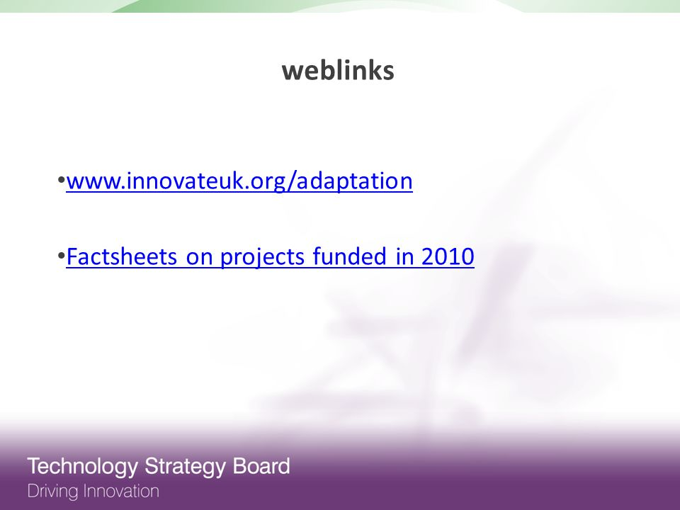 Factsheets on projects funded in 2010 weblinks