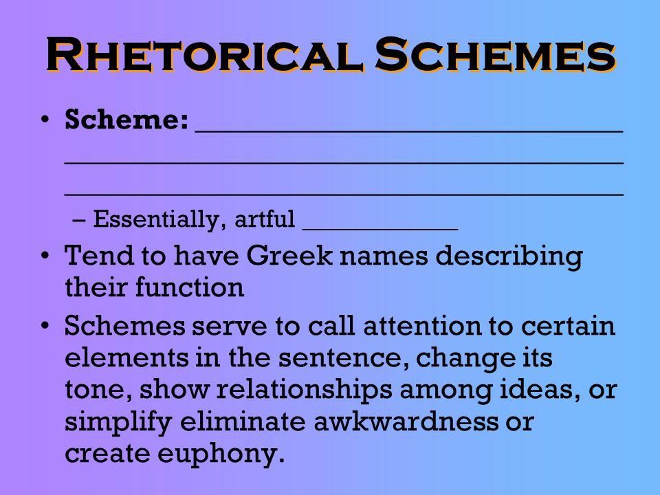 Rhetorical Schemes Scheme: _____________________________ ______________________________________ ______________________________________ –Essentially, a