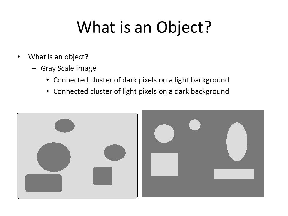What is an Object? What is an object? – Gray Scale image Connected cluster of dark pixels on a light background Connected cluster of light pixels on a