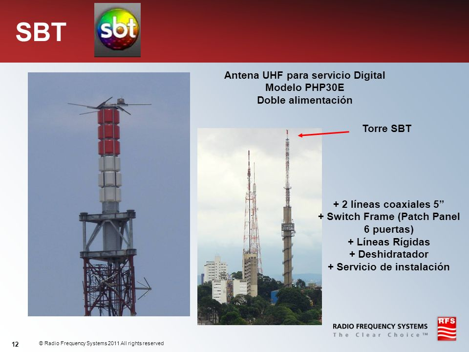 © Radio Frequency Systems 2011 All rights reserved 12 SBT Antena UHF para servicio Digital Modelo PHP30E Doble alimentación Torre SBT + 2 líneas coaxi