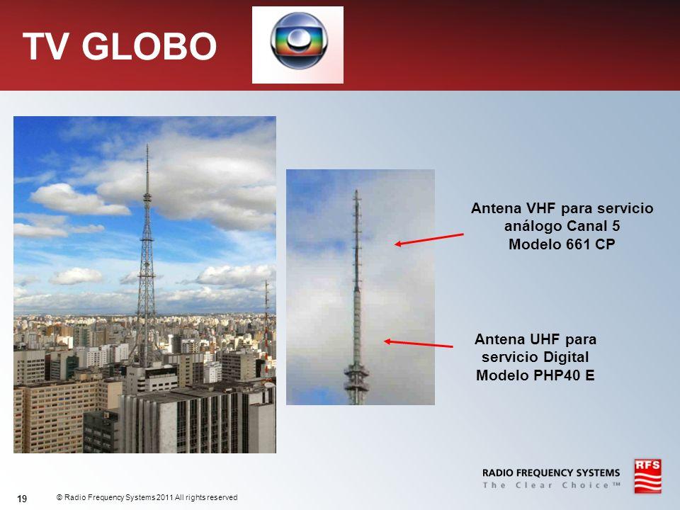 © Radio Frequency Systems 2011 All rights reserved 19 TV GLOBO Antena VHF para servicio análogo Canal 5 Modelo 661 CP Antena UHF para servicio Digital