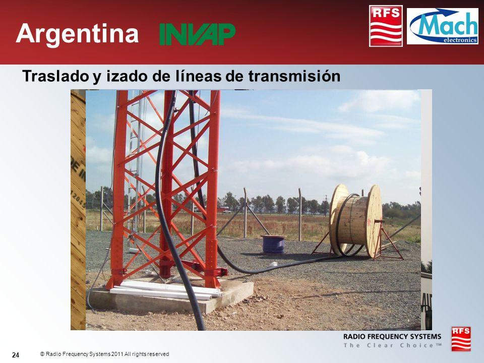 © Radio Frequency Systems 2011 All rights reserved 24 Traslado y izado de líneas de transmisión Argentina
