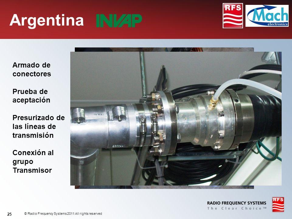 © Radio Frequency Systems 2011 All rights reserved 25 Argentina Armado de conectores Prueba de aceptación Presurizado de las líneas de transmisión Con