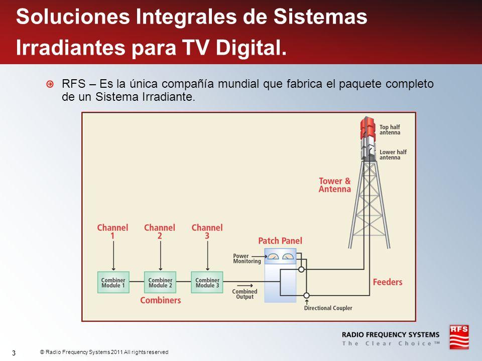 © Radio Frequency Systems 2011 All rights reserved 3 Soluciones Integrales de Sistemas Irradiantes para TV Digital. RFS – Es la única compañía mundial