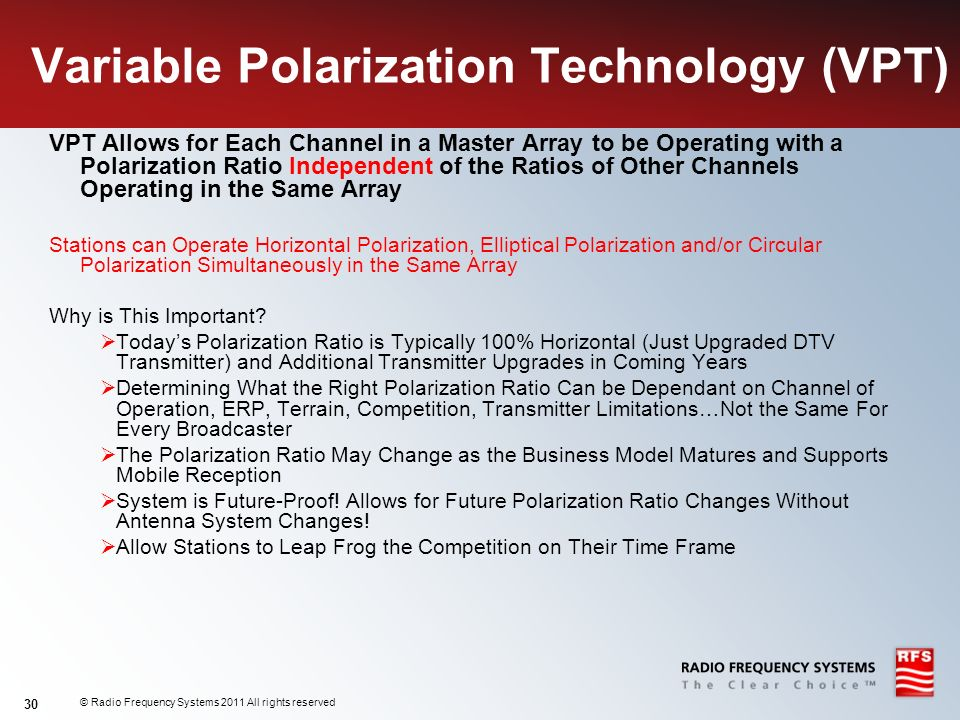 © Radio Frequency Systems 2011 All rights reserved 30 Variable Polarization Technology (VPT) VPT Allows for Each Channel in a Master Array to be Opera