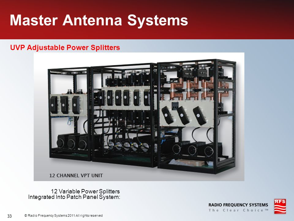 © Radio Frequency Systems 2011 All rights reserved 33 Master Antenna Systems UVP Adjustable Power Splitters 12 Variable Power Splitters Integrated Int