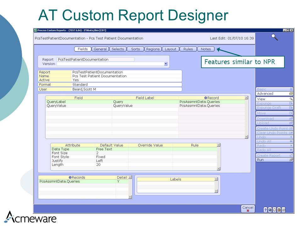 AT Custom Report Designer Features similar to NPR