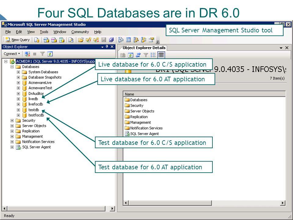 Four SQL Databases are in DR 6.0 Live database for 6.0 C/S application Live database for 6.0 AT application Test database for 6.0 C/S application Test database for 6.0 AT application SQL Server Management Studio tool