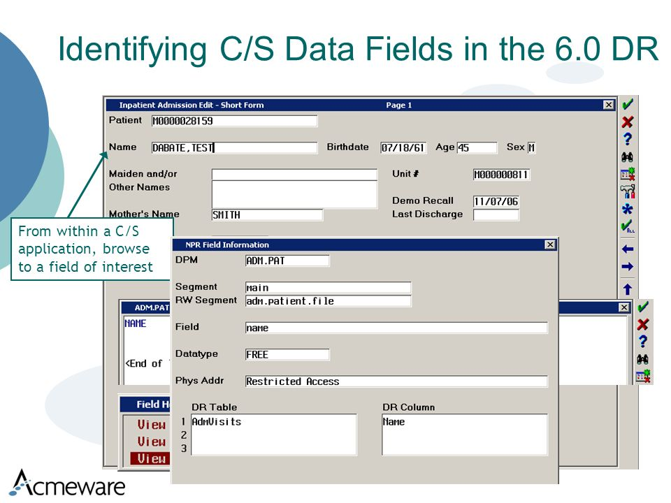 Identifying C/S Data Fields in the 6.0 DR From within a C/S application, browse to a field of interest