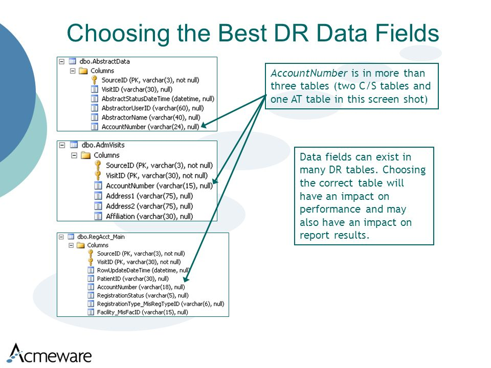 Choosing the Best DR Data Fields Data fields can exist in many DR tables.