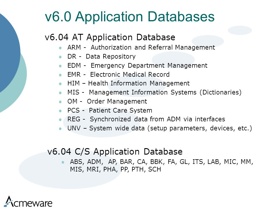 v6.04 AT Application Database ARM - Authorization and Referral Management DR - Data Repository EDM - Emergency Department Management EMR - Electronic Medical Record HIM – Health Information Management MIS - Management Information Systems (Dictionaries) OM - Order Management PCS - Patient Care System REG - Synchronized data from ADM via interfaces UNV – System wide data (setup parameters, devices, etc.) v6.0 Application Databases v6.04 C/S Application Database ABS, ADM, AP, BAR, CA, BBK, FA, GL, ITS, LAB, MIC, MM, MIS, MRI, PHA, PP, PTH, SCH
