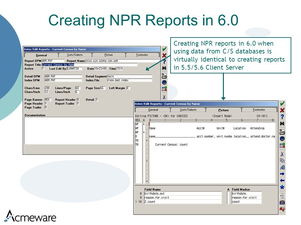 Creating NPR Reports in 6.0 Creating NPR reports in 6.0 when using data from C/S databases is virtually identical to creating reports in 5.5/5.6 Client Server
