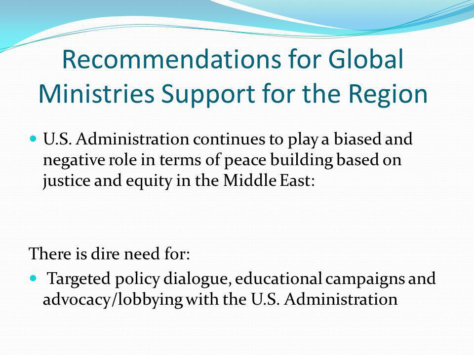 Recommendations for Global Ministries Support for the Region U.S.