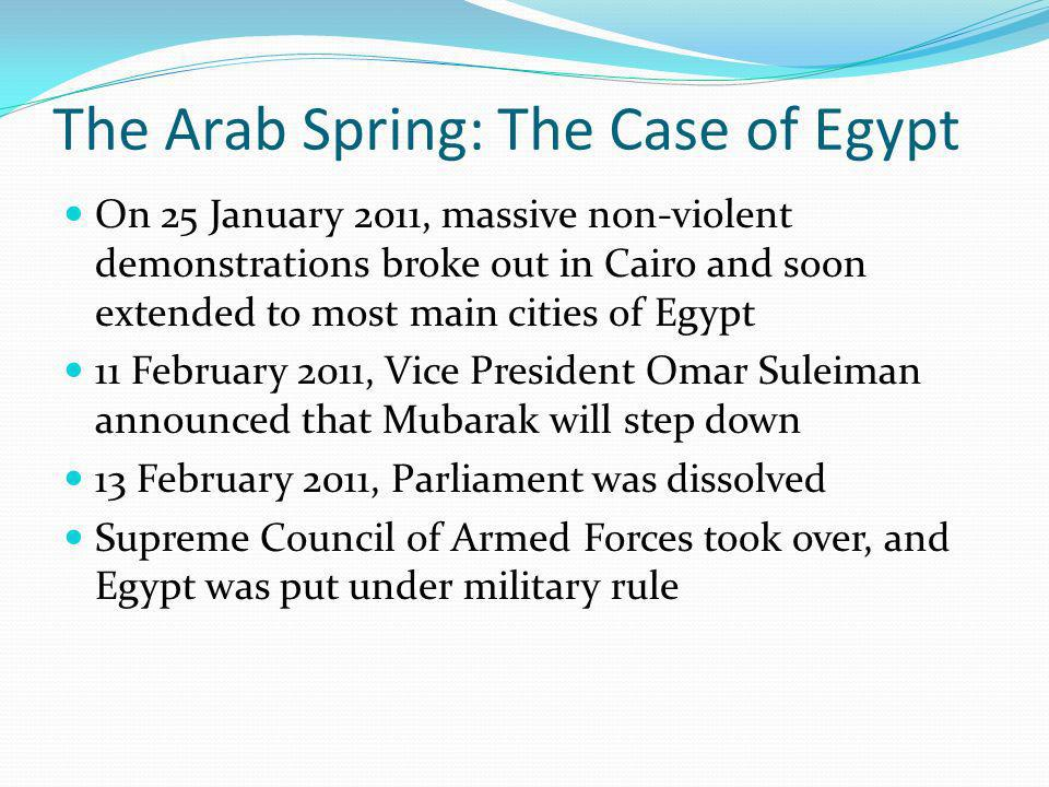 The Arab Spring: The Case of Egypt On 25 January 2011, massive non-violent demonstrations broke out in Cairo and soon extended to most main cities of Egypt 11 February 2011, Vice President Omar Suleiman announced that Mubarak will step down 13 February 2011, Parliament was dissolved Supreme Council of Armed Forces took over, and Egypt was put under military rule