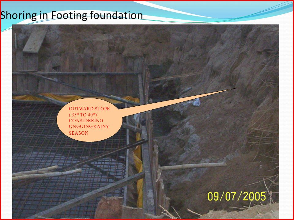 Shoring in Footing foundation OUTWARD SLOPE ( 35* TO 40*) CONSIDERING ONGOING RAINY SEASON