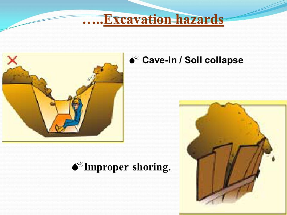 Cave-in / Soil collapse Improper shoring. …..Excavation hazards